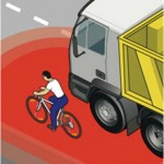 Bicycle in a truck's blind zone